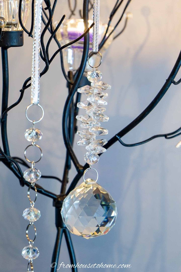 DIY crystal Christmas ornament with icicle look hung on a candle tree