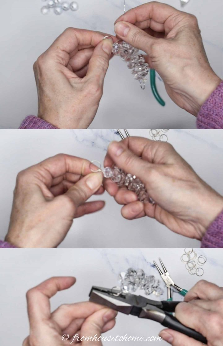 Adding split ring to the end of the ornament strand