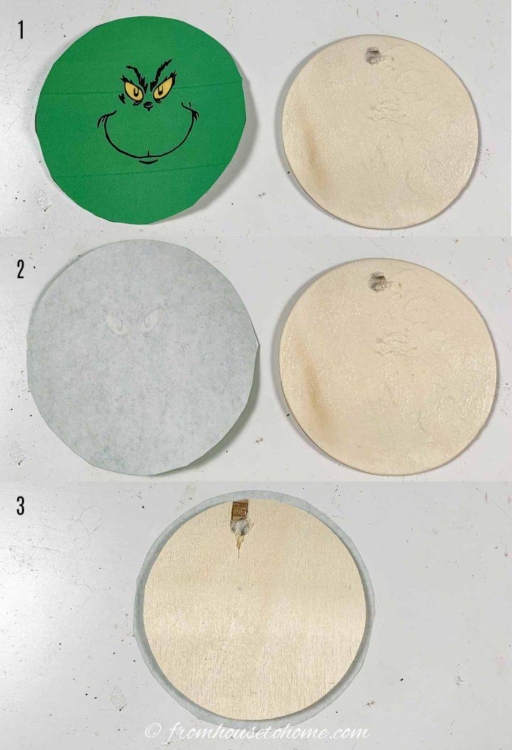 Como colar as imagens imprimíveis do Grinch no círculo de madeira