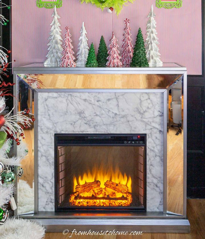Electric fireplace decorated for Christmas