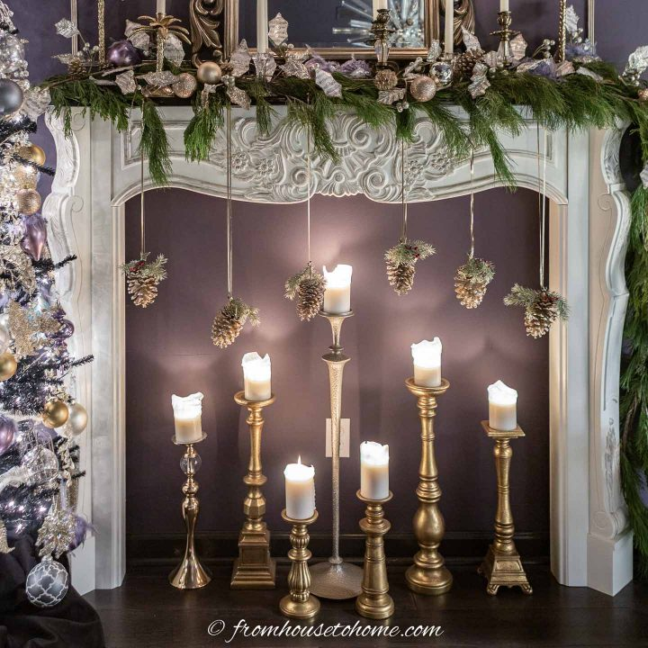 Fireplace mantel with candles under it