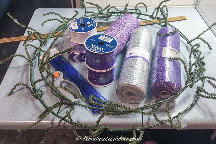 Materials for the DIY purple and silver decor mesh Christmas wreath