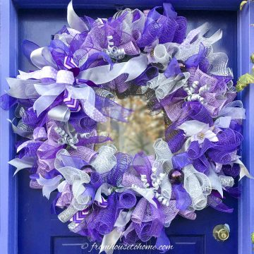 DIY purple and silver deco mesh Christmas wreath