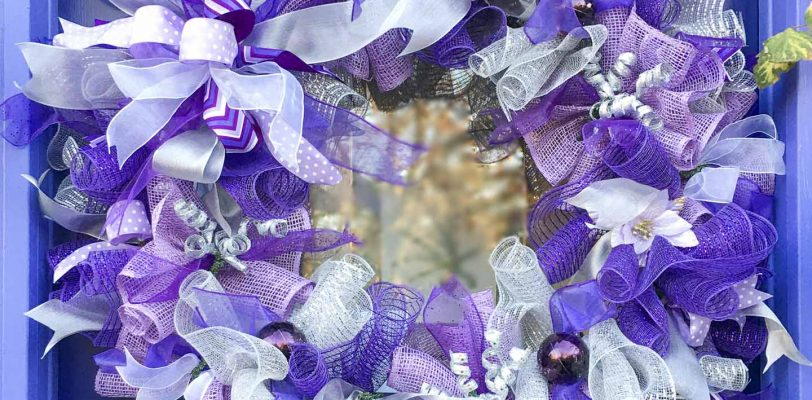 DIY purple and silver deco mesh Christmas wreath