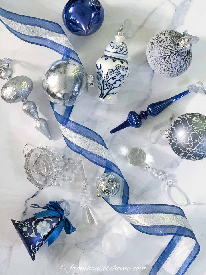 blue, white and silver christmas ornaments