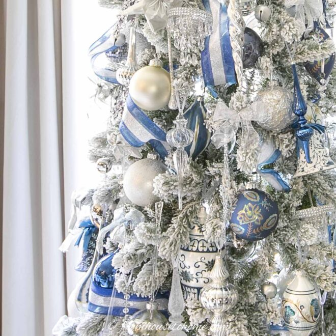 wintery white blue and silver christmas tree