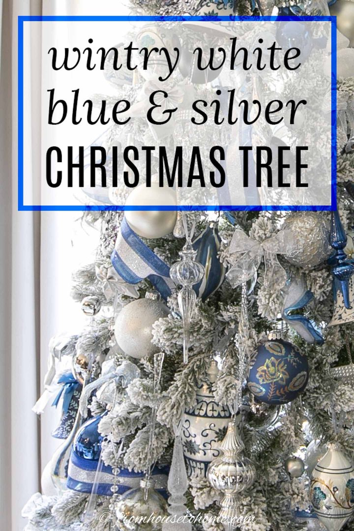 wintry white, blue and silver Christmas tree