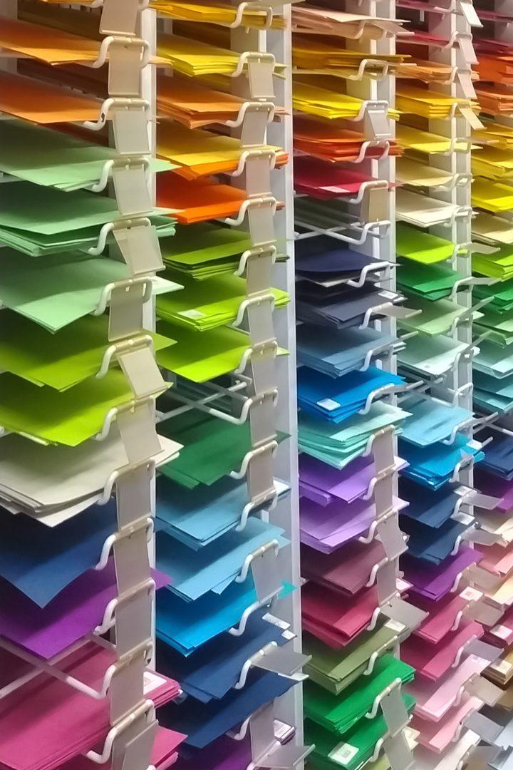 Colored paper in racks