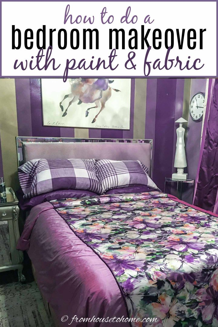 purple and gold bedroom makeover with paint and fabric