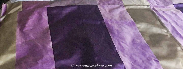 purple and gold striped fabric