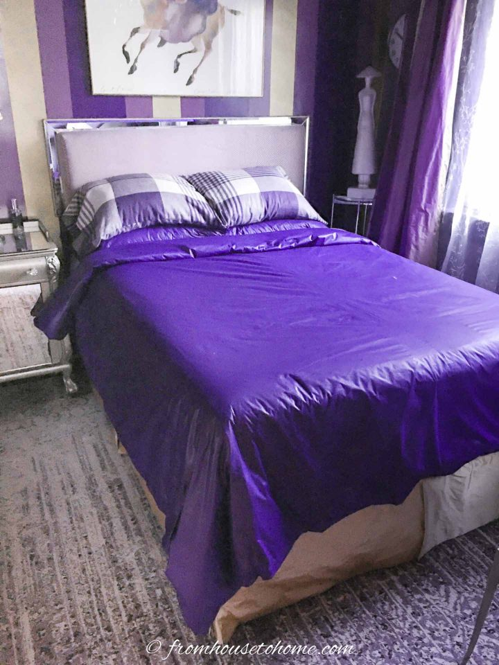 purple and gold bedroom makeover with a purple duvet cover