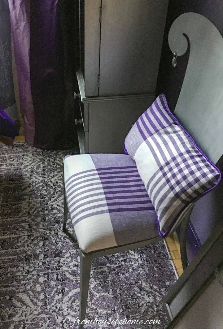 purple and white plaid seat cover and cushion