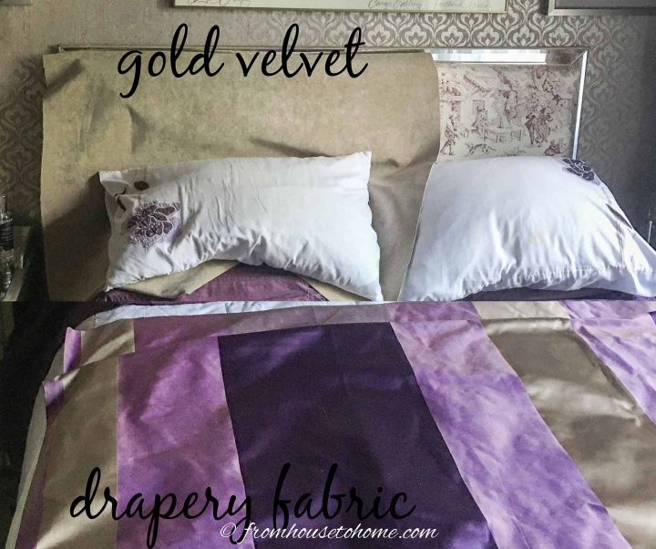 gold velvet fabric with striped drapery fabric