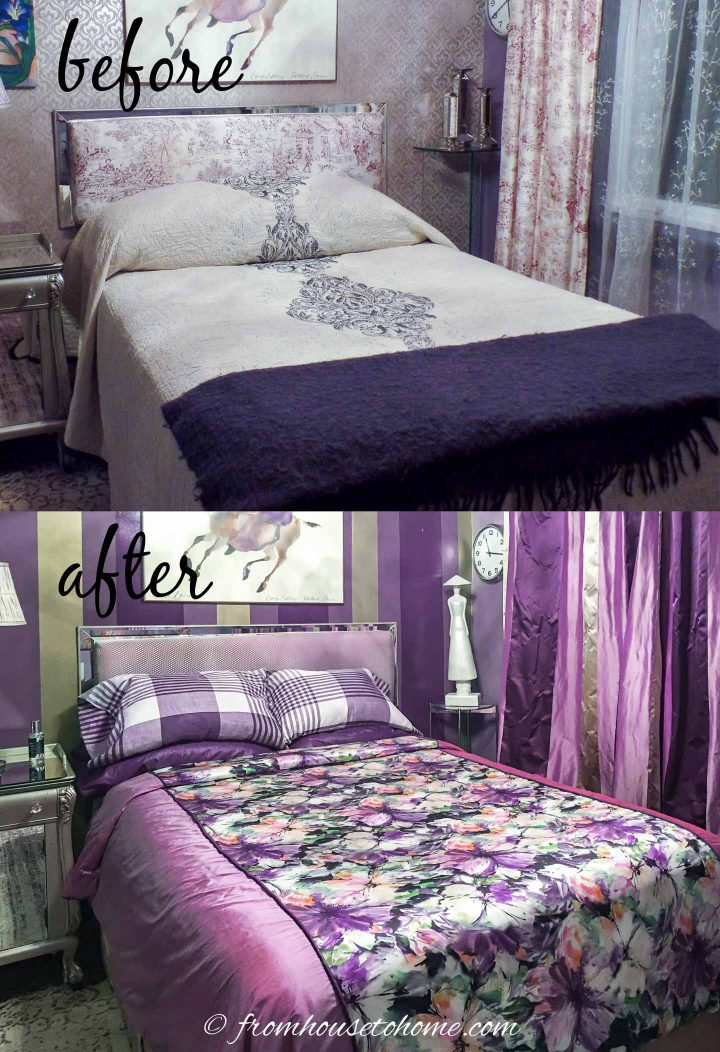 before and after the purple and gold bedroom makeover with paint and fabric