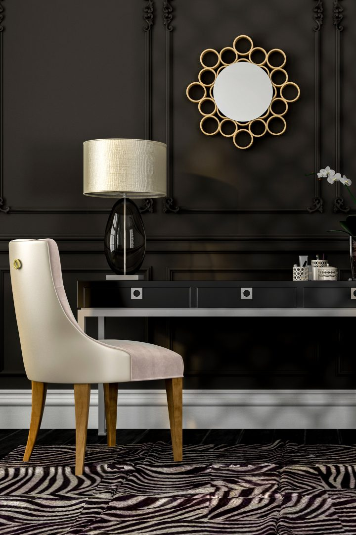 Black home office with zebra rug and white accents ©J.Zhuk - stock.adobe.com