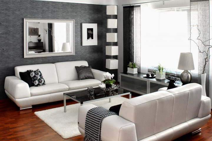 Small black and white living room