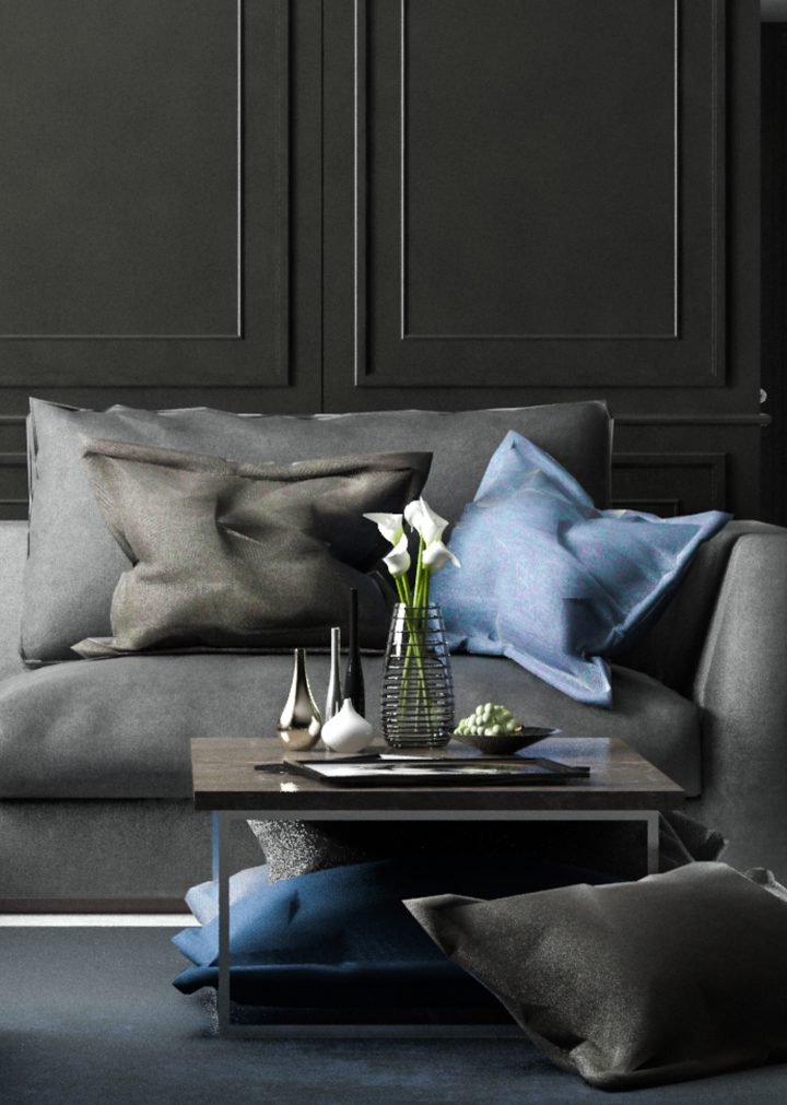Black living room with a grey sofa and blue cushions ©Mobz - shutterstock.com