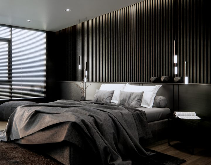 Black bedroom with black strips of wood on the wall behind the bed ©CREATIVE WONDER - shutterstock.com