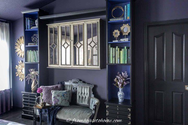 Dark purple bedroom with black trim