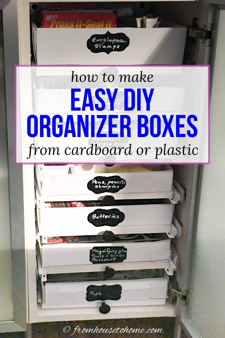 how to make DIY storage boxes from cardboard or plastic