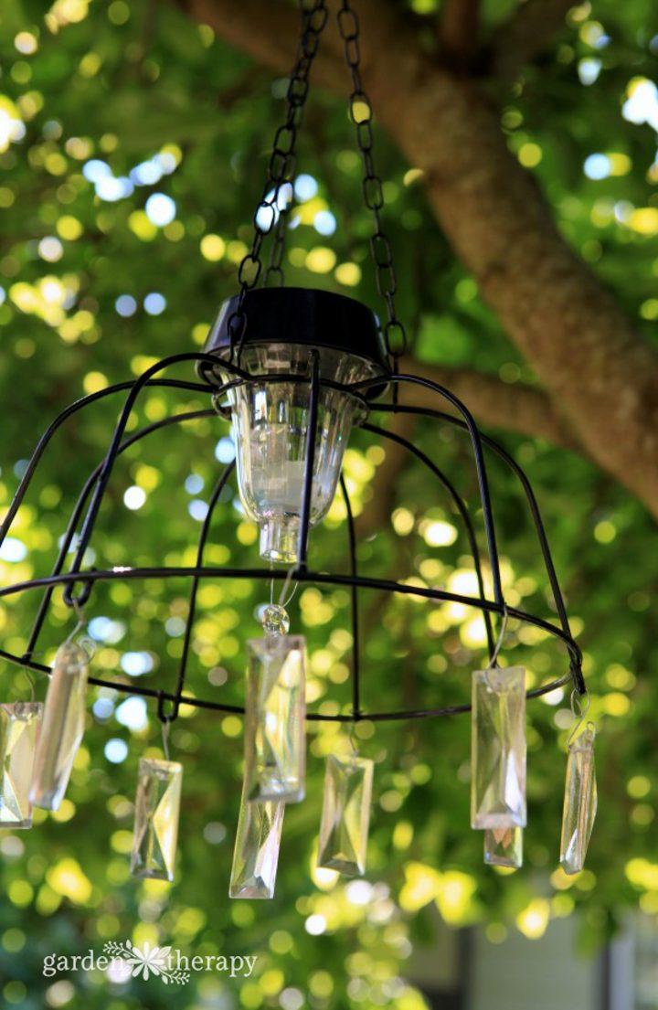 DIY solar light chandelier ©gardentherapy.ca