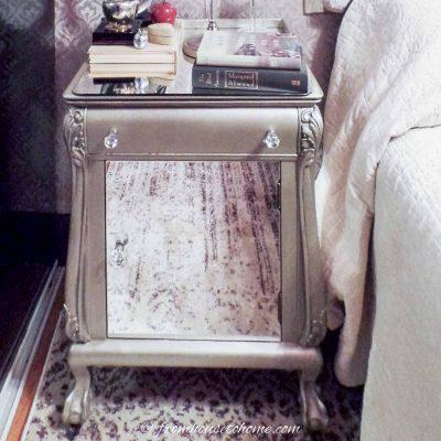 DIY mirrored nightstand