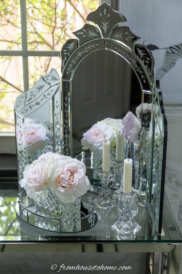 Tri-fold make up mirror in the bathroom