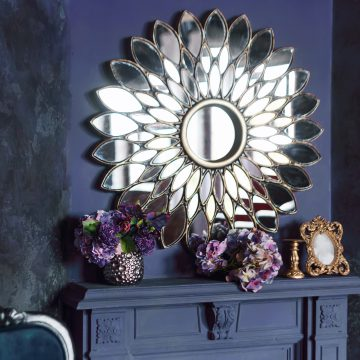 Large mirror over a fireplace mirror