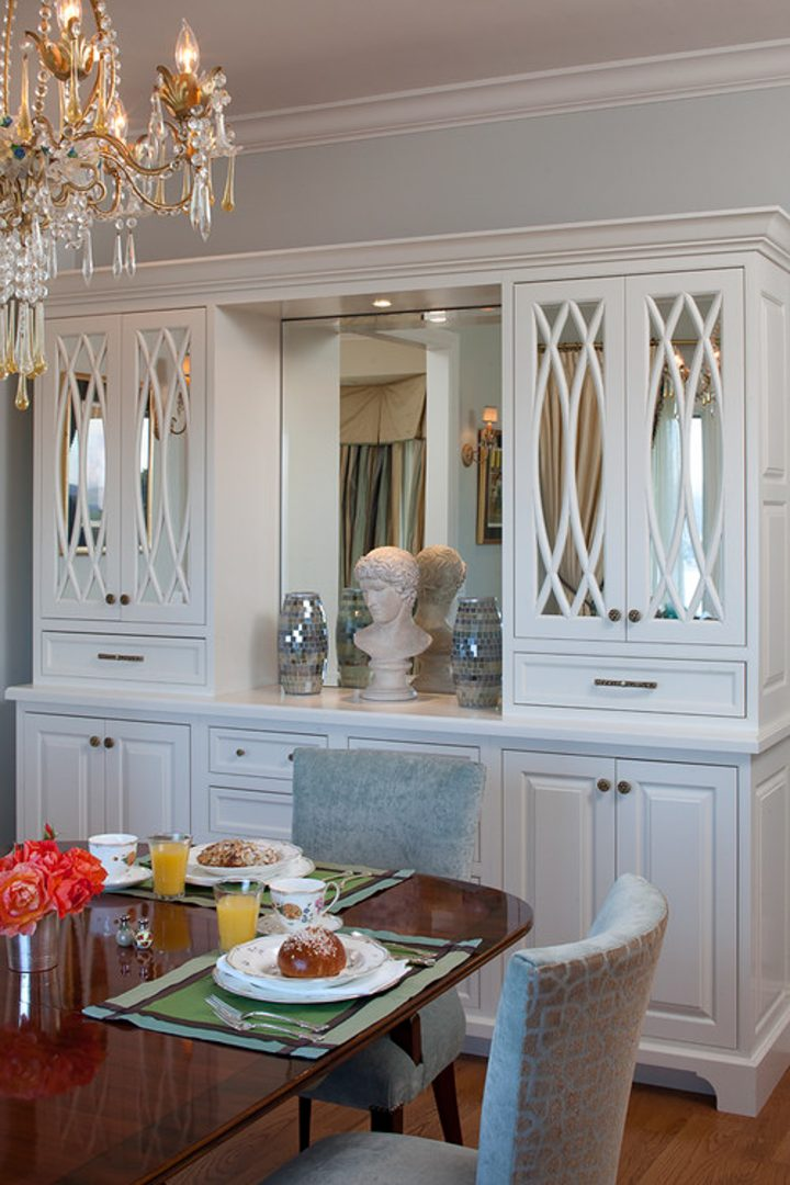 Dining room china cabinet with mirrors at the back