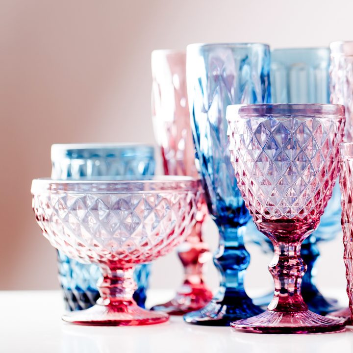 Blue and pink colored glassware