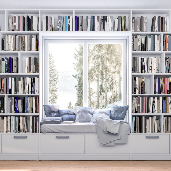 Home library built in around a window bench