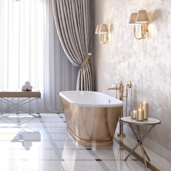 Bathroom with copper soaker tub, bench and candles