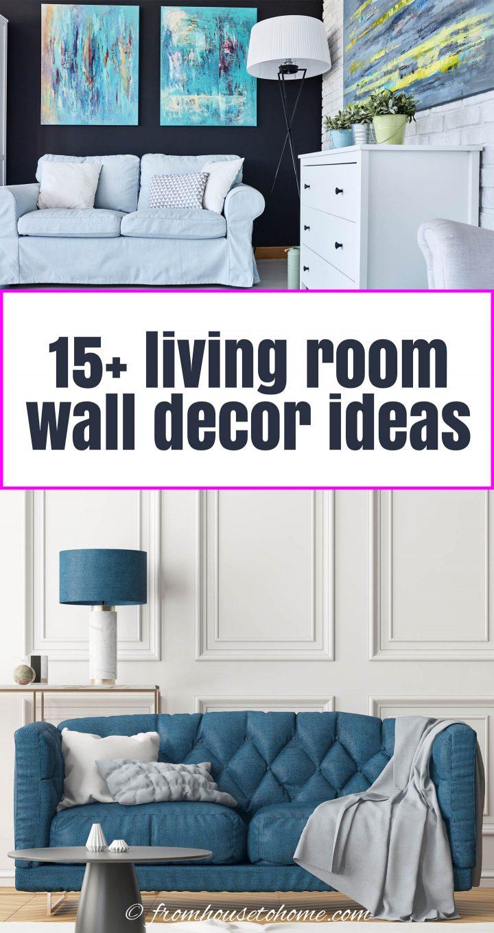 Mais de 15 ideias de decoração de parede de sala de estar
