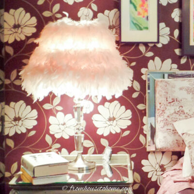 diy glam decor lamp shade wrapped with feather boa
